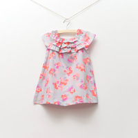 DS3211   Girls  woven butterfly printed dress,  summer vest dress 1lot 7pcs 1.5-8y