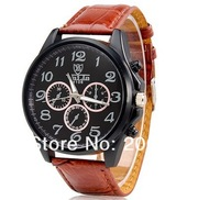 NEW VALIA 9106 Men's Quartz Movement Analog Watch with Faux Leather Strap (Black.Brown)wristwatches+free shipping