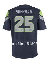 Free Shipping 2013 Seattle Jerseys 25 Richard Sherman Elite Blue Cheap Football Jerseys Embroidery and Sewing logos Size 40-56