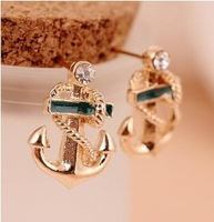 Minimal mix styles $5 2013 New Arrived Jewelry Anchor Stud Earring C9R8 Free shipping