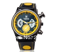 NEW VALIA 9102-1 Men's Quartz Movement Analog Watch with Faux Leather Strap (White.Yellow)wristwatches+free shipping
