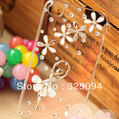 Wholesale 10PCS Hard Plastic Diamond Rhinestone ballet dancer for iPhone 4 4G 4S free shipping(China (Mainland))