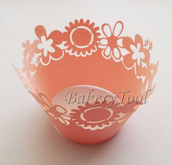 promotional 60 pcs pink sunflower cupcake wrappers muffin cases FREE SHIPPING(China (Mainland))