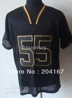 Sportswear # 55 black light output Elite BLACK jerseys football jersey mix order drop ship