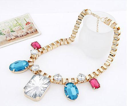 Wholesale!!!Fashion Jewellery Accessories Necklace Radiation Pattern Acrylic Big Gem Ancient Style 10 P/L(China (Mainland))