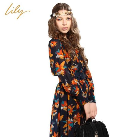 Women's lily 2013 ol fashion vintage flower Dress female national trend long sleeve one-piece dress with belt Free Shipping(China (Mainland))