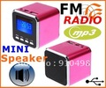 BY DHL OR EMS 50 pieces free ship hot sell Digital portable Speaker Mini Speaker MP3 Player USB  Micro SD TF Card FM Radio(China (Mainland))