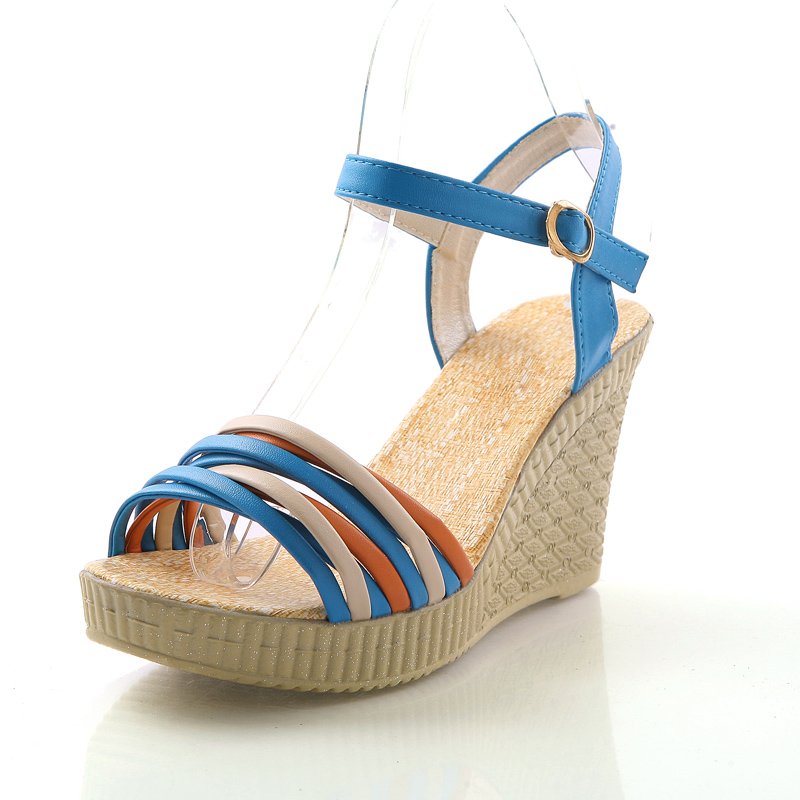 Free shipping 2013 sandals multi-colored strap wedges high-heeled shoes platform gladiator shoes women&#39;s smarten(China (Mainland))