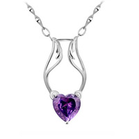 Accessories heart s925 silver necklace amethyst pendant romantic gift girlfriend gifts