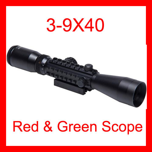 Wholesale - Tactical 3-9x40 Red Green Dot Airsoft Sniper Hunting Riflescope Sight 10-20mm Mounts Outdoor Products Free Shipping(China (Mainland))