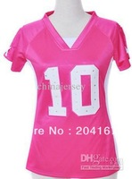 Women's Sportswear # 10 football jersey pink synthetic diamond drop ship mixed order size ML XL XXL