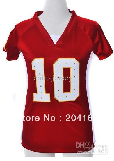 Women&#39;s Sportswear # 10 red synthetic diamond soccer jerseys drop ship mixed order size ML XL XXL(China (Mainland))