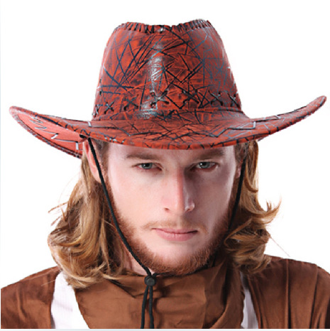 Free Shipping, Classic men's Wine Red & Yellow cowboy hat, free and cool style(China (Mainland))