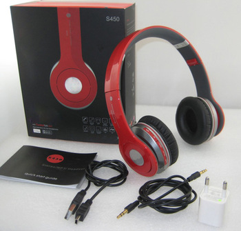 High Quality red/black/white Bluetooth headphone S450 with mic Wireless multifunctional HD headpset