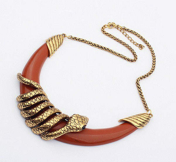 Newest Women Fashion Jewelry Hip Hop Chain Necklace With Snake Shaped Zinc Alloy Chain Gold Plated Free Shipping X1002(China (Mainland))