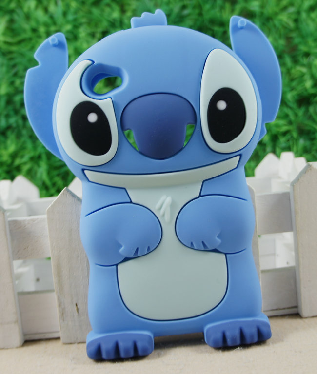 Wholesales! 3D Blue Lilo Stitch Movable Cute Cartoon Silicone Cover Case for iPod Touch 4 4G New Movable Ear Flip(China (Mainland))