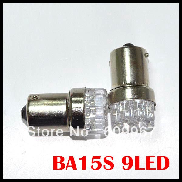 4 pcs/lot Wholesale Car Bulb Lamp 1156 382 BA15S P21W Turn Signal Tail Brake 9 LED Light White(China (Mainland))
