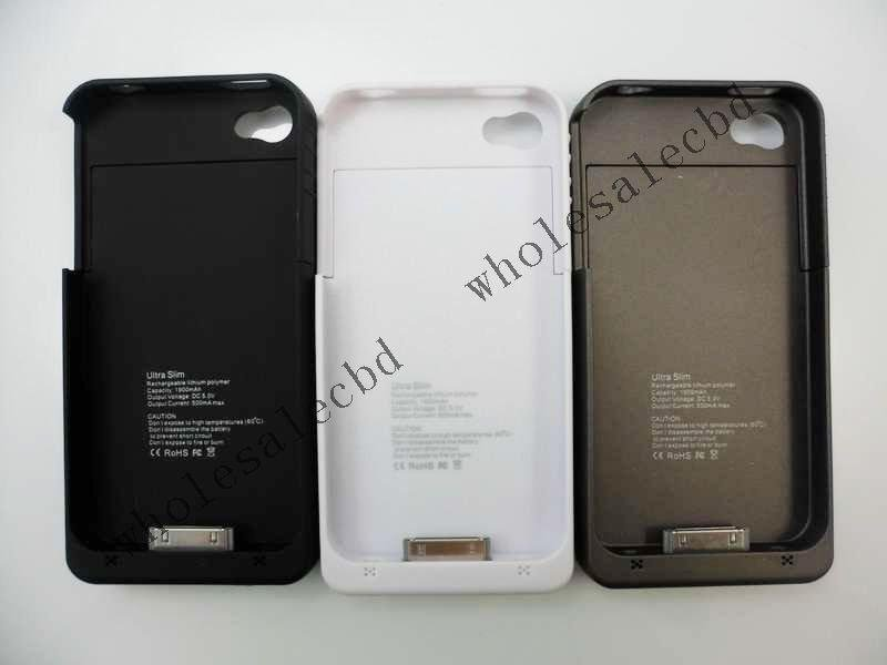 Ultra Slim 1900mah External Battery Charger Case Power Bank for iphone 4 free shipping(China (Mainland))