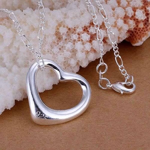 P058 fashion jewelry chains necklace 925 silver pendant Big love fall dyqi vlhp(China (Mainland))