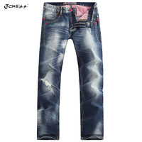 Joneaa 2014 New  Original Designer Jeans Color Line Ripped Hip hop rock Jeans  men's  slim straight Pants Luxury Limited