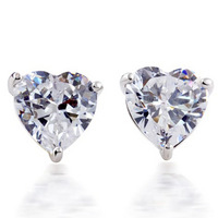 free shipping Exquisite zircon platinum brief love heart five-pointed star female stud earring accessories female a-16