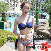 New Free shipping Quality one shoulder swimsuits 2014 triangle sexy korean bikini split big boy young girl swimwear girls