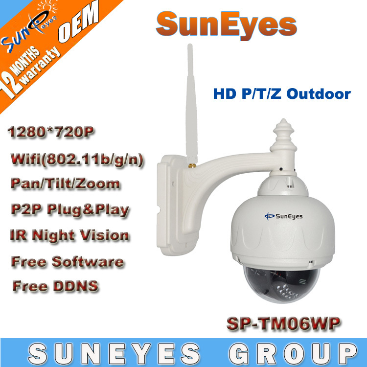 SunEyes 720P 1.0 MegaPixel HD PTZ IP Camera Wifi Wireless with Pan/Tilt/Zoom Outdoor Dome IP Network CCTV Camera SP-TM06WP(China (Mainland))