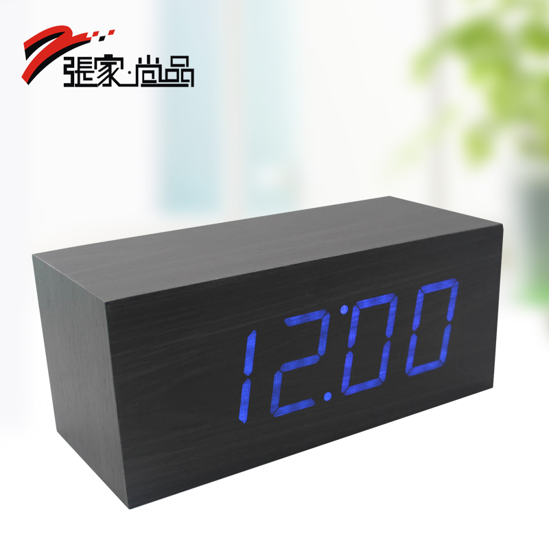 Wood clock function alarm clock led clock gift dream blue(China (Mainland))
