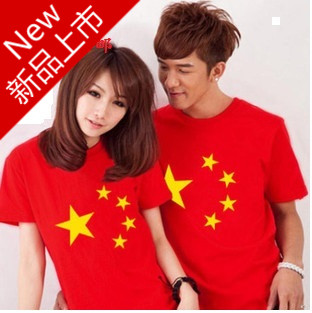 2013 classic spring and summer lovers t-shirt cotton short-sleeve 100% T-shirt flag lovers design summer(China (Mainland))