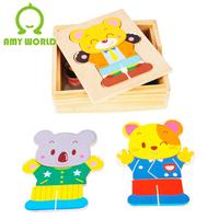 Puzzle child wooden intelligence puzzle animal clothing puzzle educational toys