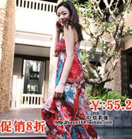 Female bohemia V-neck expansion bottom print dress beach dress one-piece dress full dress