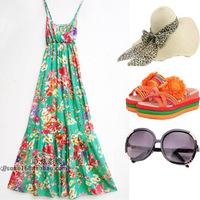 Beach dress bohemia V-neck spaghetti strap full dress one-piece dress