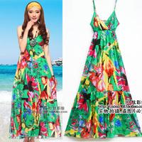 2012 bohemia national trend beach dress V-neck expansion bottom full dress one-piece dress