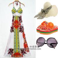Plus size beach dress bohemia slim one-piece dress mopping the floor dress full