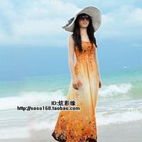 Beach dress bohemia plus size slim full dress autumn summer spaghetti strap one-piece dress