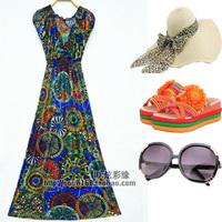 Bohemia national trend full dress one-piece dress beach dress suspender