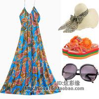 Beach dress bohemia halter-neck full dress plus size one-piece dress beach dress