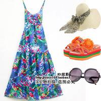 Bohemia V-neck spaghetti strap tube top full dress mopping the floor beach dress one-piece dress