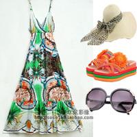 Bohemia V-neck full dress one-piece dress beach dress
