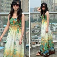 Beach dress bohemia chiffon full dress one-piece dress slim beach dress