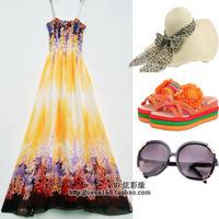 Bohemia beach dress chiffon full dress one-piece dress tube top plus size