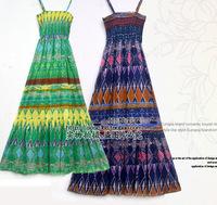 2012 summer bohemia 100% cotton full dress women's vintage beach dress tube top one-piece dress