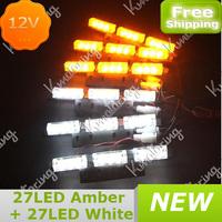 54LED strobe flash warning light Strobe Light save energy colorful truck car Strobe Light Emergency 3X6 panels Free Shipping