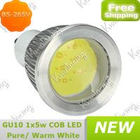 High Power Saving Energy 5W Led Lamp 85-265V Spotlight COB New Gu10 Down Bulb free shipping