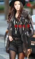 Fox fur coat fox fur long vest self-shade design