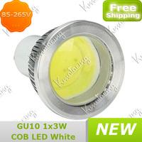 Spotlight Down Lamp White Power 3w 85-265V pure White Saving Energy  New Gu10 COB Led Bulb free shipping