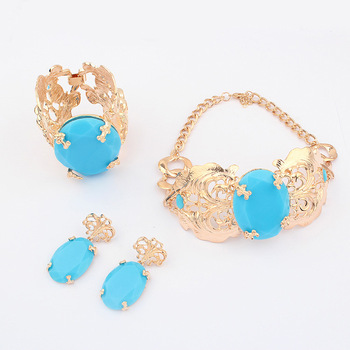 Free Shipping Anna necklace bracelet earrings set female vintage fashion short design