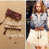 Lady Fashion Weaved Elastic Chiffons Lace Edging Macrame Women's Belts Vintage Belt Accessories Elastic Belt Girdle Strap,2PCS