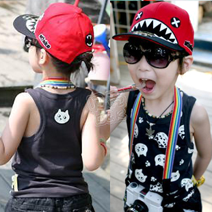 2013 summer cat boys clothing girls clothing child tank sleeveless T-shirt tx-1606(China (Mainland))