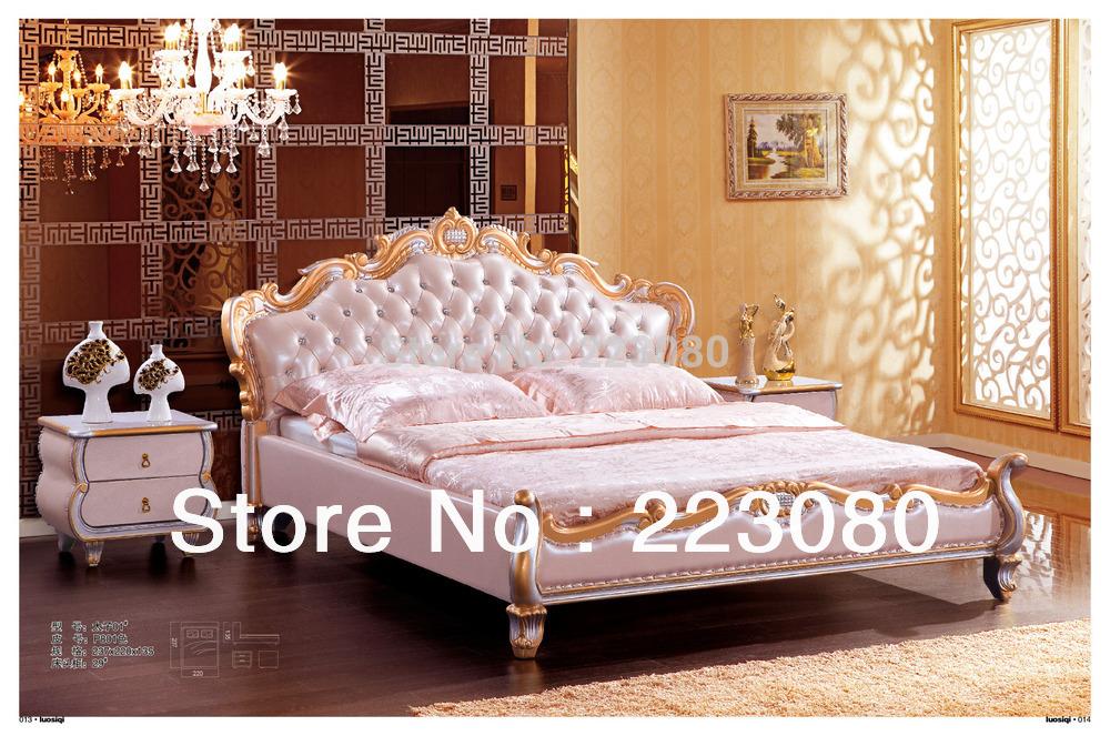 bed bedroom sets golden foil solid wood frame top grain leather bed